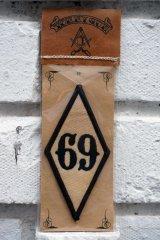 69 PATCH Rhombus BLACK(バイカーワッペン・ひし形ワッペン69)