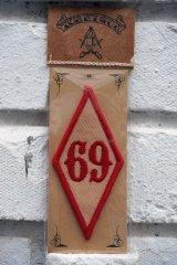 69 PATCH Rhombus RED(バイカーワッペン・ひし形ワッペン69)