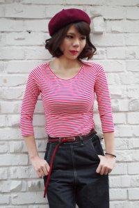COLLECTIF Martina Thin Stripe Boat Neck T-shirt (コレクティフ ボートネック ボーダー7分袖Tシャツ)