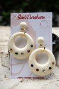 Vintage Stlye Joan diamanté hoop earrings Ivory Multi (レトロ ヴィンテージ アクセサリー・フープピアス アイボリー)