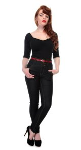 COLLECTIF Rebel Kate HighWaist Denim Jeans  Black (ハイウエスト スリムジーンズ)