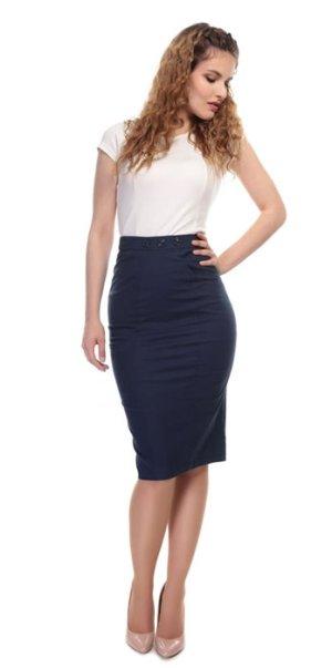 画像1: Collectif Vintage Style Plain Pencil Skirt Navy(ビンテージスタイル ペンシルスカート)