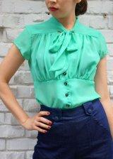 SALE!! STEADY CLOTHING Harlow Chiffon Tie Top In Mint(ステディークロージング シフォン ボウタイブラウス ミント)