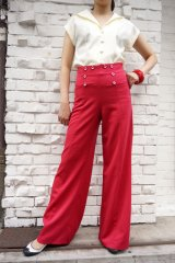 BANNED 40s SAILOR STYLE  FLARE TROUSERS RED(40sヴィンテージスタイル セーラー フレアーパンツ)