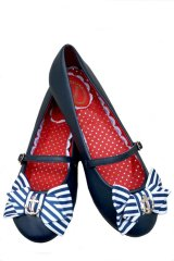 BANNED 50s STYLE ANCHOR FLAT MARY JANE SHOES(50sマリンスタイル フラットシューズ)