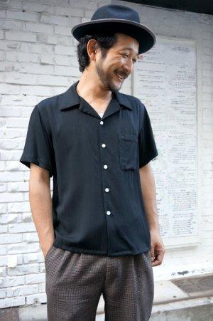 画像1: CABALLERO ORIGINAL PLAIN OPEN COLLAR SHIRT BLACK(無地 オープンカラー レーヨンシャツ ブラック)