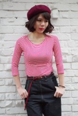 COLLECTIF Martina Thin Stripe Boat Neck T-shirt (コレクティフ ボートネック ボーダー7分袖Tシャツ)