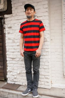 他の写真2: CABALLERO BORDER S/S T-SHIRT ボーダーTシャツ(黒×赤)