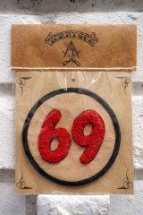 69PATCH Red【69 ワッペン/コットンツイル生地】