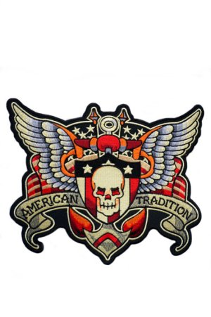 画像1: SKULL AND WING BIG PATCH (スカルウイング タトゥーワッペン 特大サイズ)