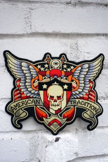 他の写真1: SKULL AND WING BIG PATCH (スカルウイング タトゥーワッペン 特大サイズ)