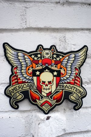 画像2: SKULL AND WING BIG PATCH (スカルウイング タトゥーワッペン 特大サイズ)