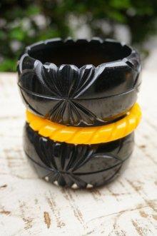 他の写真2: Genevive thick carved fakelite bangle Black(レトロ ヴィンテージアクセサリー バングル ブラック)