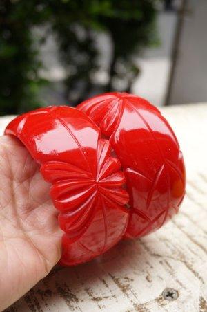 画像4: Genevive thick carved fakelite bangle Red(レトロ ヴィンテージアクセサリー バングル レッド)