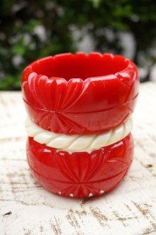 他の写真2: Genevive thick carved fakelite bangle Red(レトロ ヴィンテージアクセサリー バングル レッド)