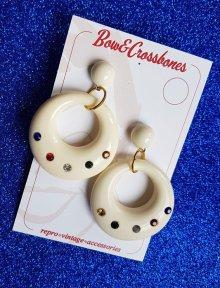他の写真1: Vintage Stlye Joan diamanté hoop earrings Ivory Multi (レトロ ヴィンテージ アクセサリー・フープピアス アイボリー)