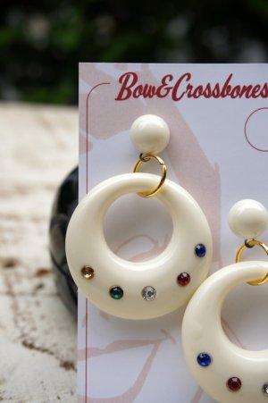 画像2: Vintage Stlye Joan diamanté hoop earrings Ivory Multi (レトロ ヴィンテージ アクセサリー・フープピアス アイボリー)