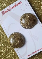 Vintage Retro Lucite Confetti Dome Clip Ones Gold(1940sスタイル ヴィンテージ レトロイヤリング・ゴールド)