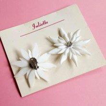 他の写真2: Vintage White diamante flower Clip on earrings (ヴィンテージ ディアマンテフラワー イヤリング)