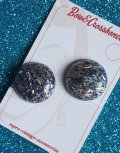 Vintage Retro Lucite Confetti Dome Clip Ones Blue&Silver(1940sスタイル ヴィンテージ レトロイヤリング・ブルーグリッター)