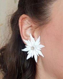 他の写真3: Vintage White diamante flower Clip on earrings (ヴィンテージ ディアマンテフラワー イヤリング)
