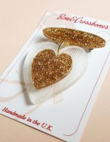 Belinda bakelite reproduction gold glitter love heart brooch(ビンテージリプロダクト 1940s ハートブローチ)