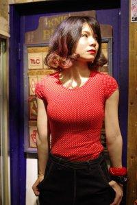 COLLECTIF ALICE MINI POLKA DOT T-SHIRT RED(コレクティフ ミニドットTシャツ・レッド)