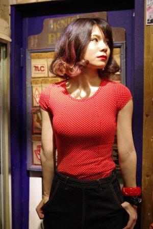 画像1: COLLECTIF ALICE MINI POLKA DOT T-SHIRT RED(コレクティフ ミニドットTシャツ・レッド)