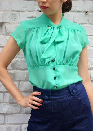 画像1: SALE!! STEADY CLOTHING Harlow Chiffon Tie Top In Mint(ステディークロージング シフォン ボウタイブラウス ミント)