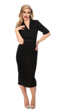 COLLECTIF 50s ROCKABILLY PENCIL DRESS BLACK(50sスタイル ロカビリーペンシルワンピース)