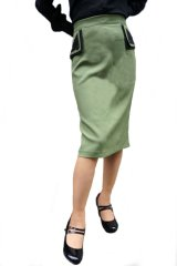 BANNED 50s STYLE PENCIL WIGGLE SKIRT ARMY GREEN (50s ビンテージスタイル ペンシルスカート アーミーグリーン)