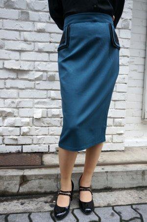 画像1: BANNED 50s STYLE PENCIL WIGGLE SKIRT TEAL(50s ビンテージスタイル ペンシルスカート ティールブルー)