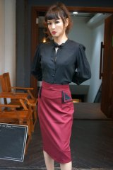 BANNED 50s STYLE PENCIL WIGGLE SKIRT BORDEAUX (50s ビンテージスタイル ペンシルスカート ボルドー))