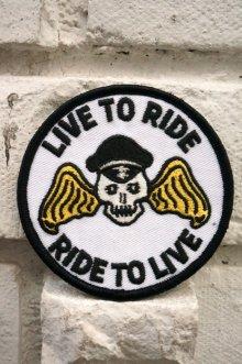 他の写真1: CABALLERO PATCH LIVE TO RIDE!(バイカー・モーターサイクル・スカルワッペン・ホワイト)