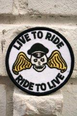 CABALLERO PATCH LIVE TO RIDE!(バイカー・モーターサイクル・スカルワッペン・ホワイト)