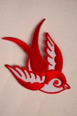 Swallow Patch Red×White(ツバメ・スワロー・スワロウ ワッペン・赤×白 )