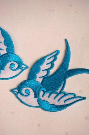 画像2: Swallow Patch Light Blue(ツバメ・スワロー・スワロウ ワッペン・水色 )
