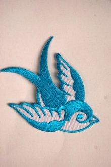 他の写真1: Swallow Patch Light Blue(ツバメ・スワロー・スワロウ ワッペン・水色 )