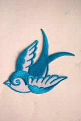 Swallow Patch Light Blue(ツバメ・スワロー・スワロウ ワッペン・水色 )