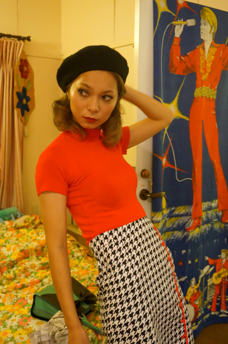 60s style high neck short sleeve knit red 60sスタイル ハイネック